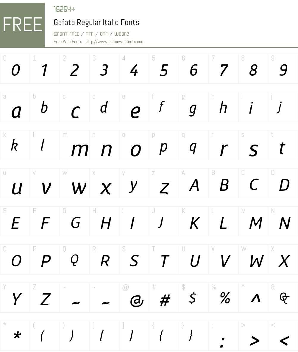 Gafata-Italic Font Screenshots