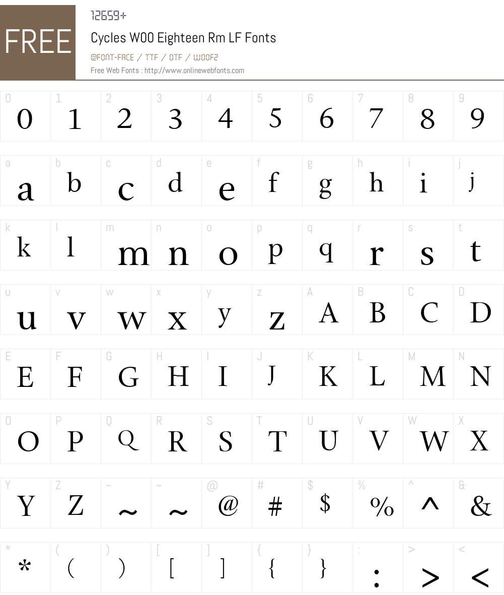 CyclesW00-EighteenRmLF Font Screenshots