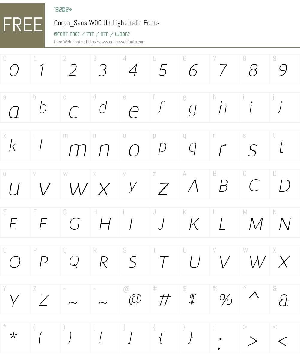 Corpo_SansW00-UltLtitalic Font Screenshots