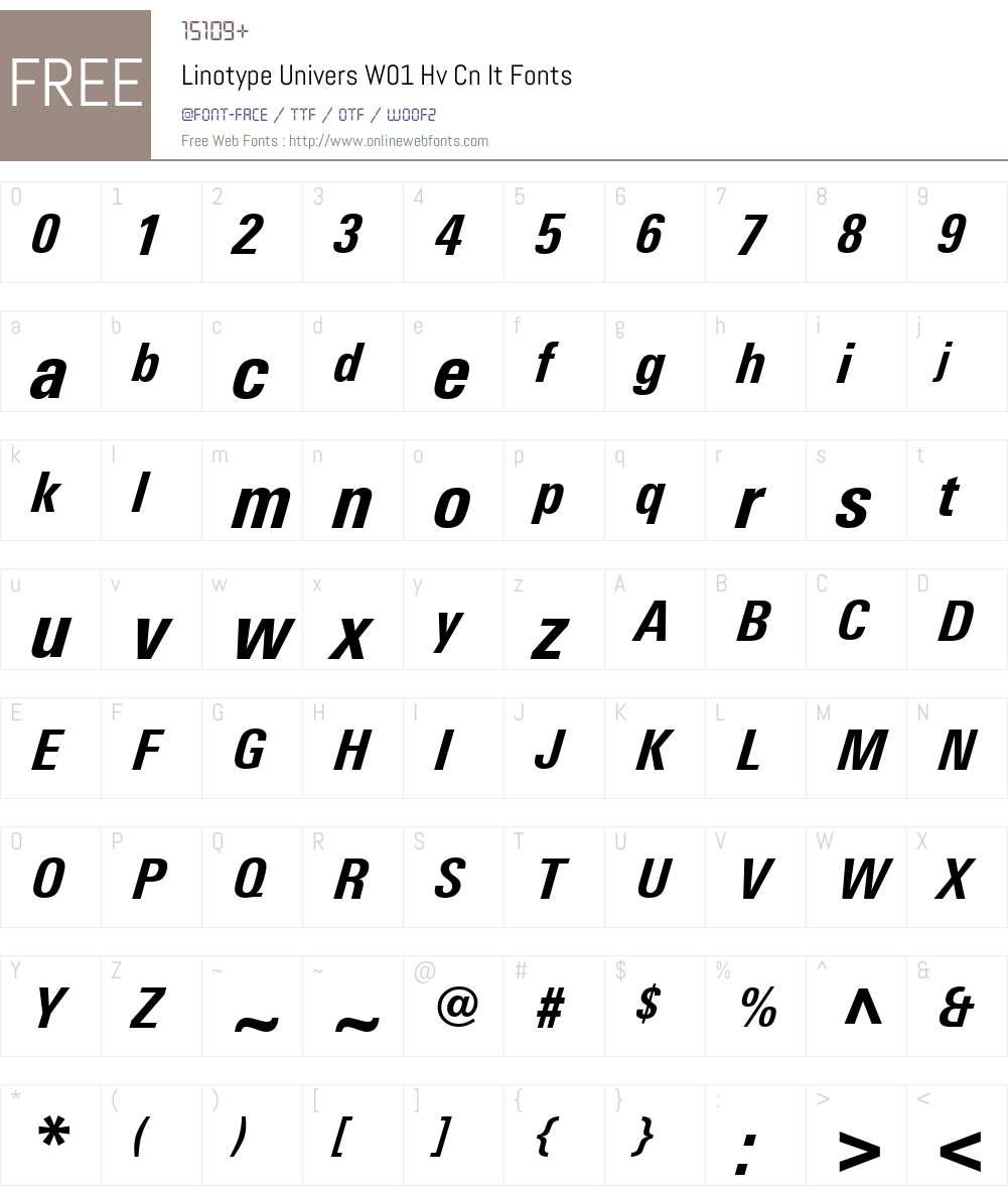 LinotypeUniversW01-HvCnIt Font Screenshots