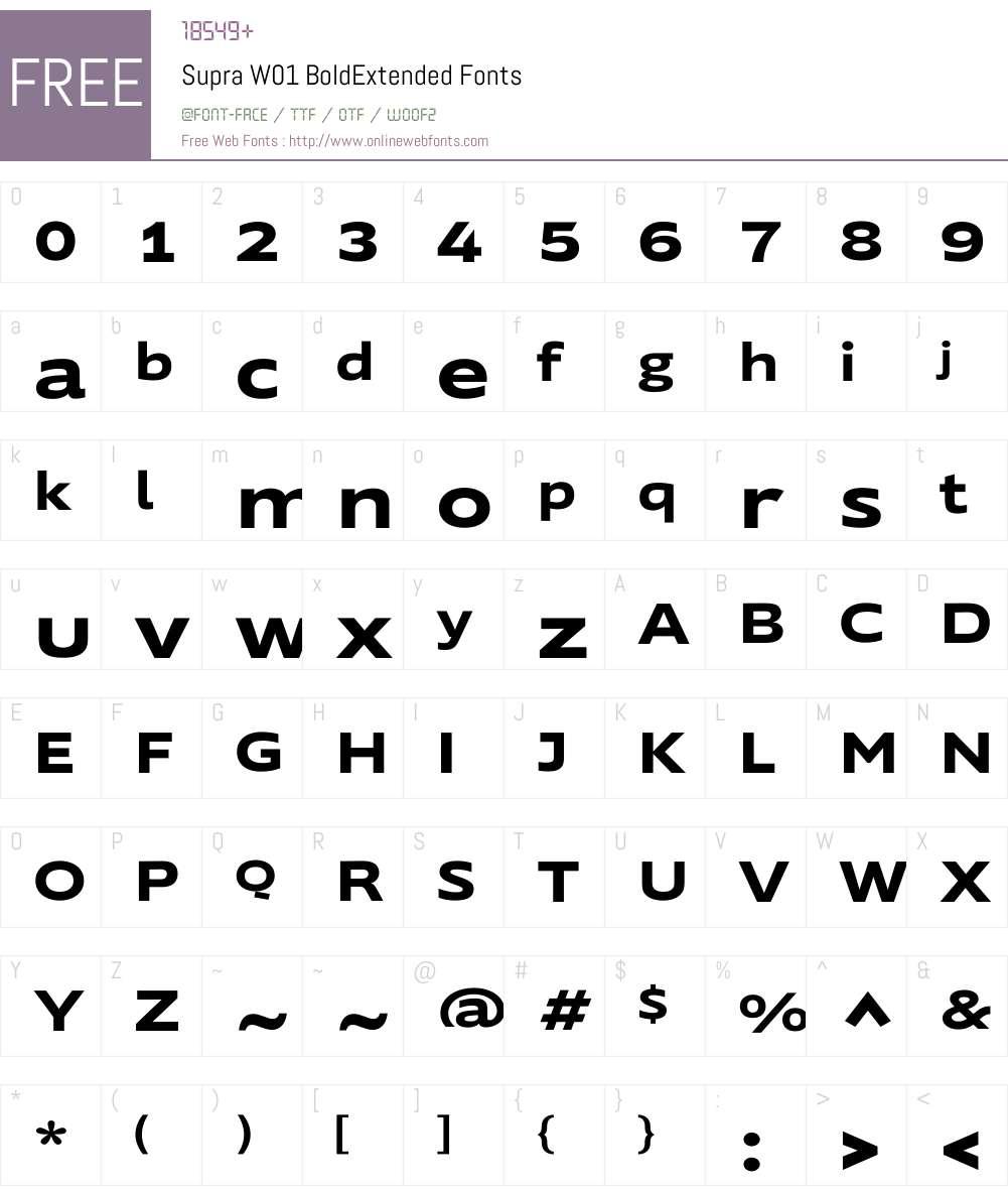 SupraW01-BoldExtended Font Screenshots