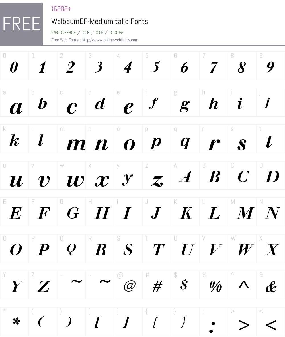 WalbaumEF Font Screenshots