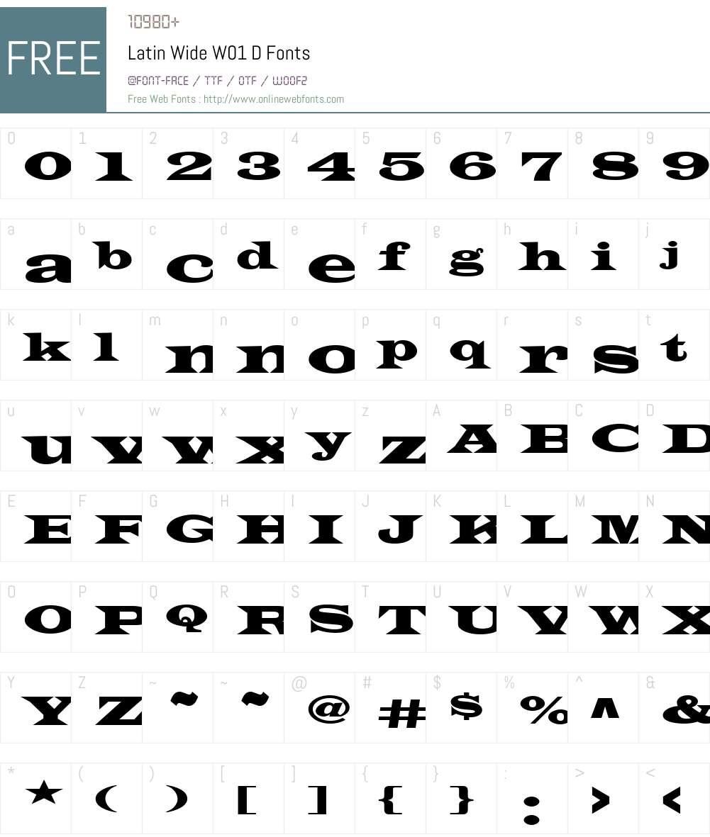 LatinWideW01-D Font Screenshots