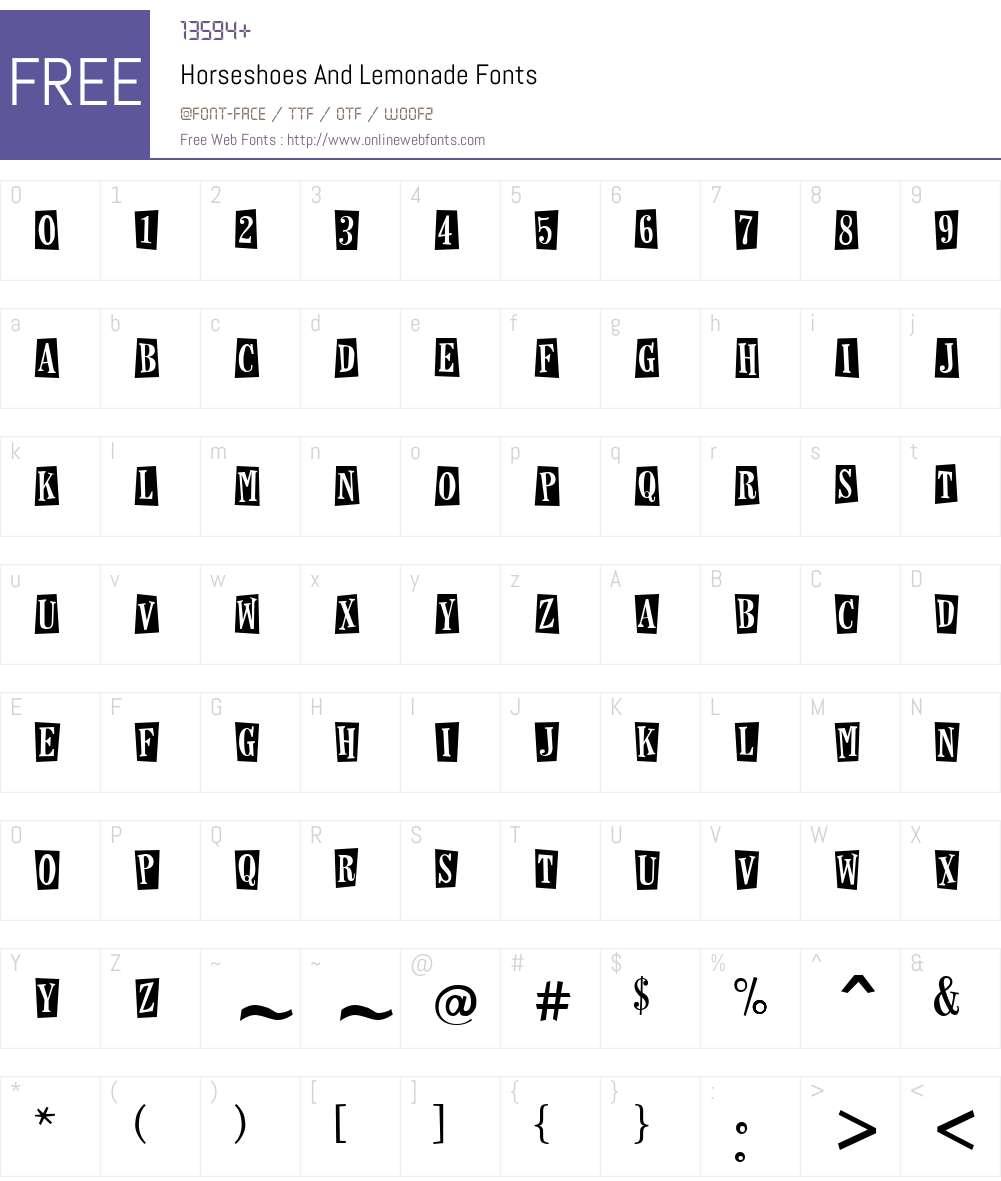 Horseshoes And Lemonade Font Screenshots