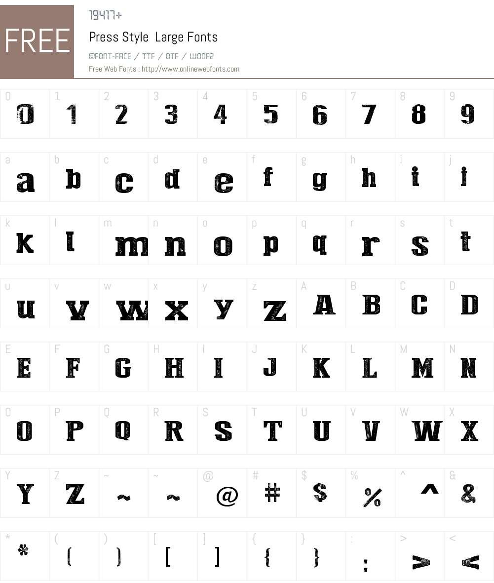 Press Style  Large Font Screenshots