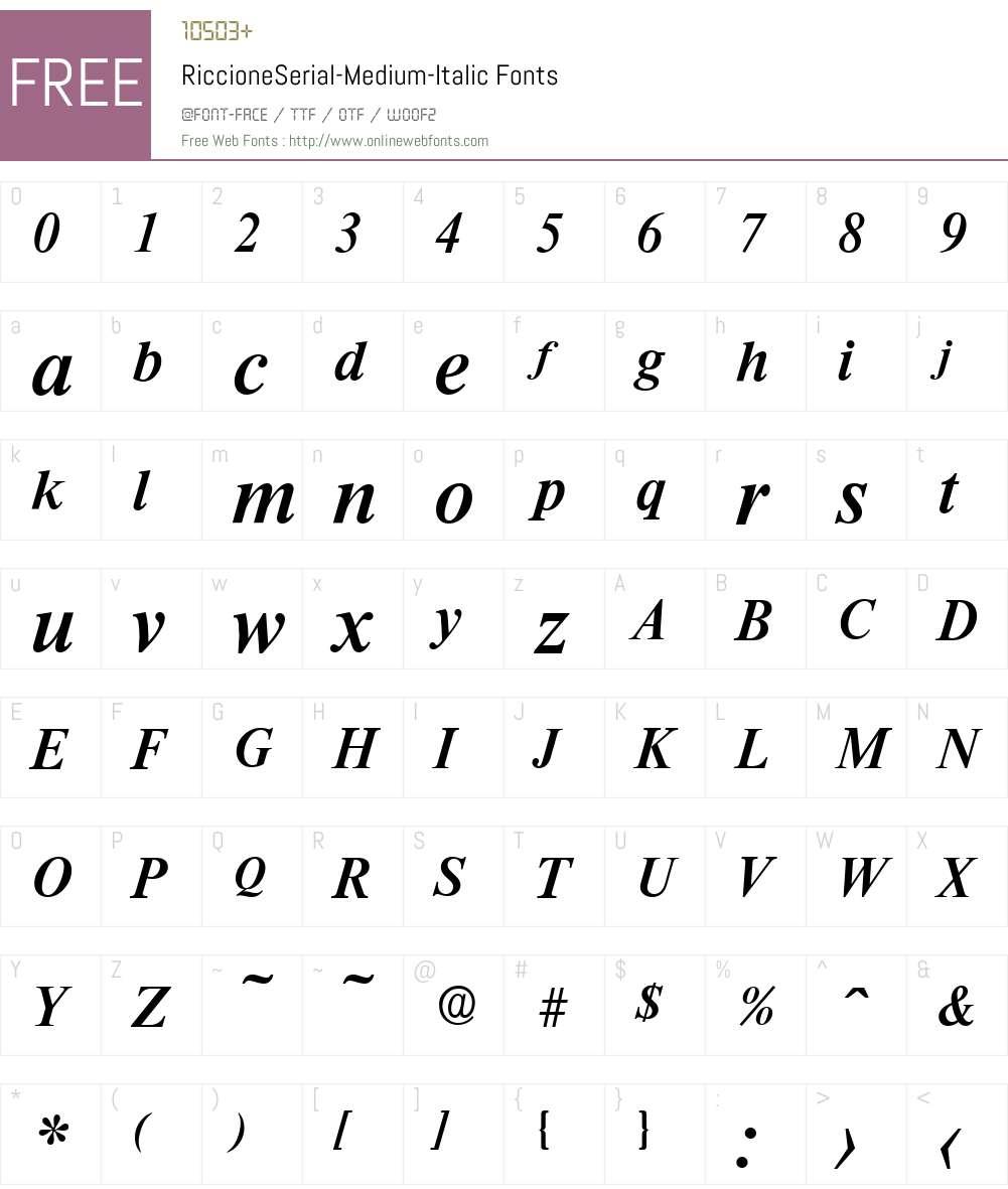 RiccioneSerial-Medium Font Screenshots