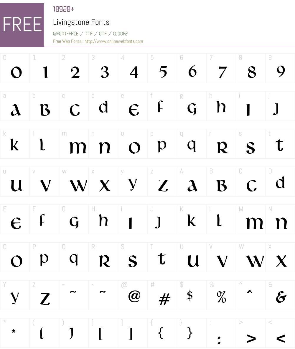 Livingstone Font Screenshots