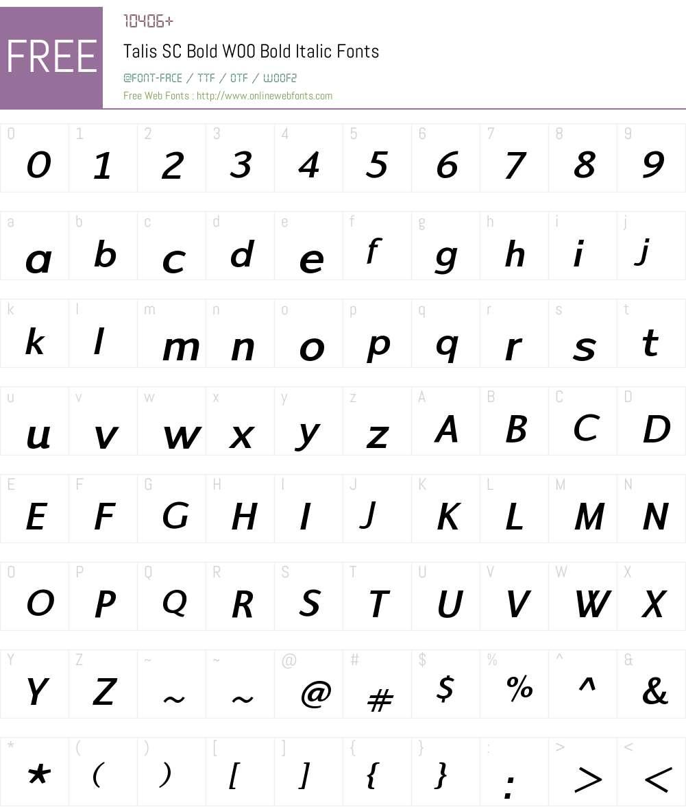 TalisSCBoldW00-BoldItalic Font Screenshots
