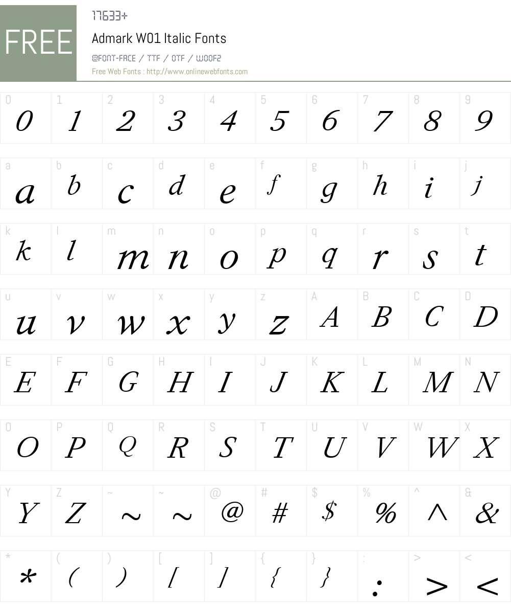 AdmarkW01-Italic Font Screenshots