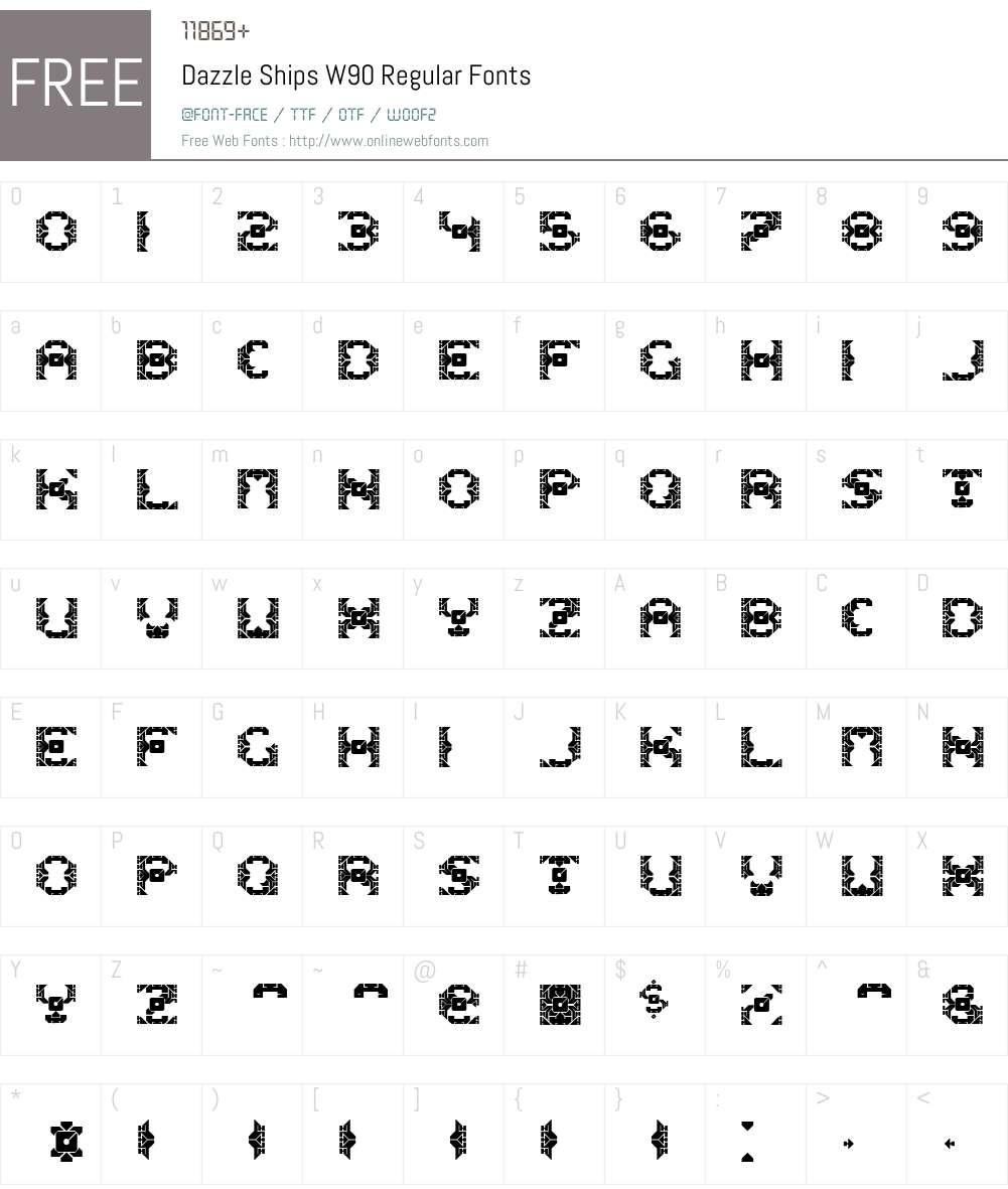 DazzleShipsW90-Regular Font Screenshots