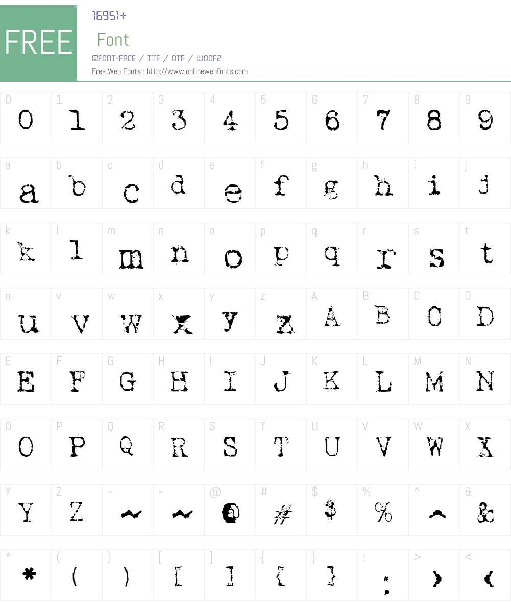 Typewriter New Roman Font Screenshots