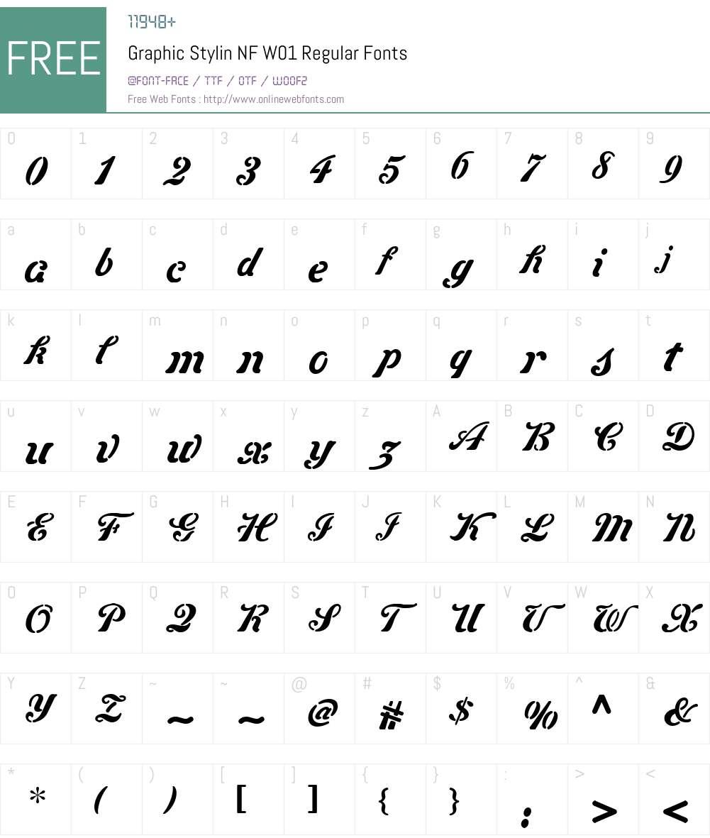 GraphicStylinNFW01-Regular Font Screenshots