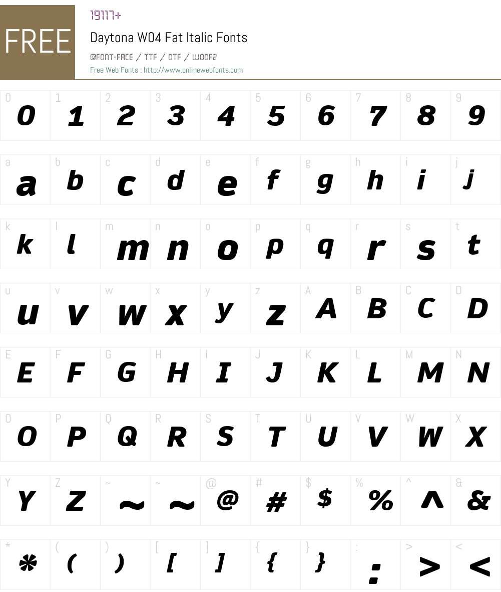Daytona Font Screenshots