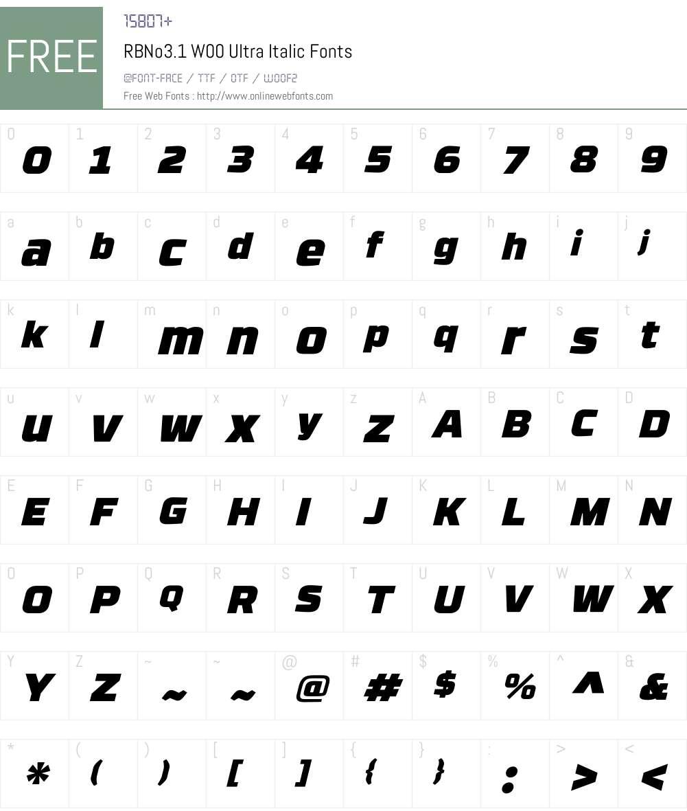 RBNo3.1W00-UltraItalic Font Screenshots