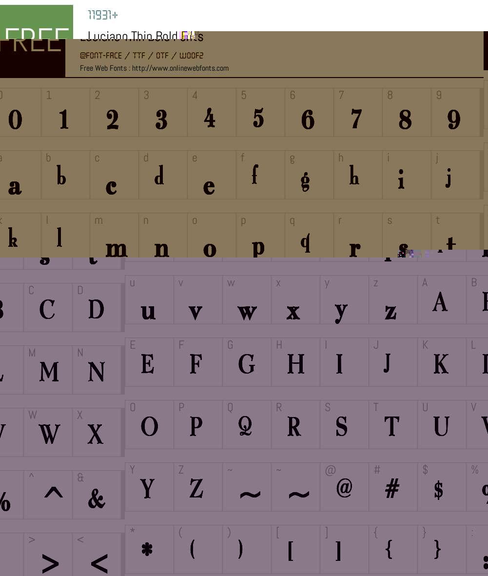 Luciano Thin Font Screenshots