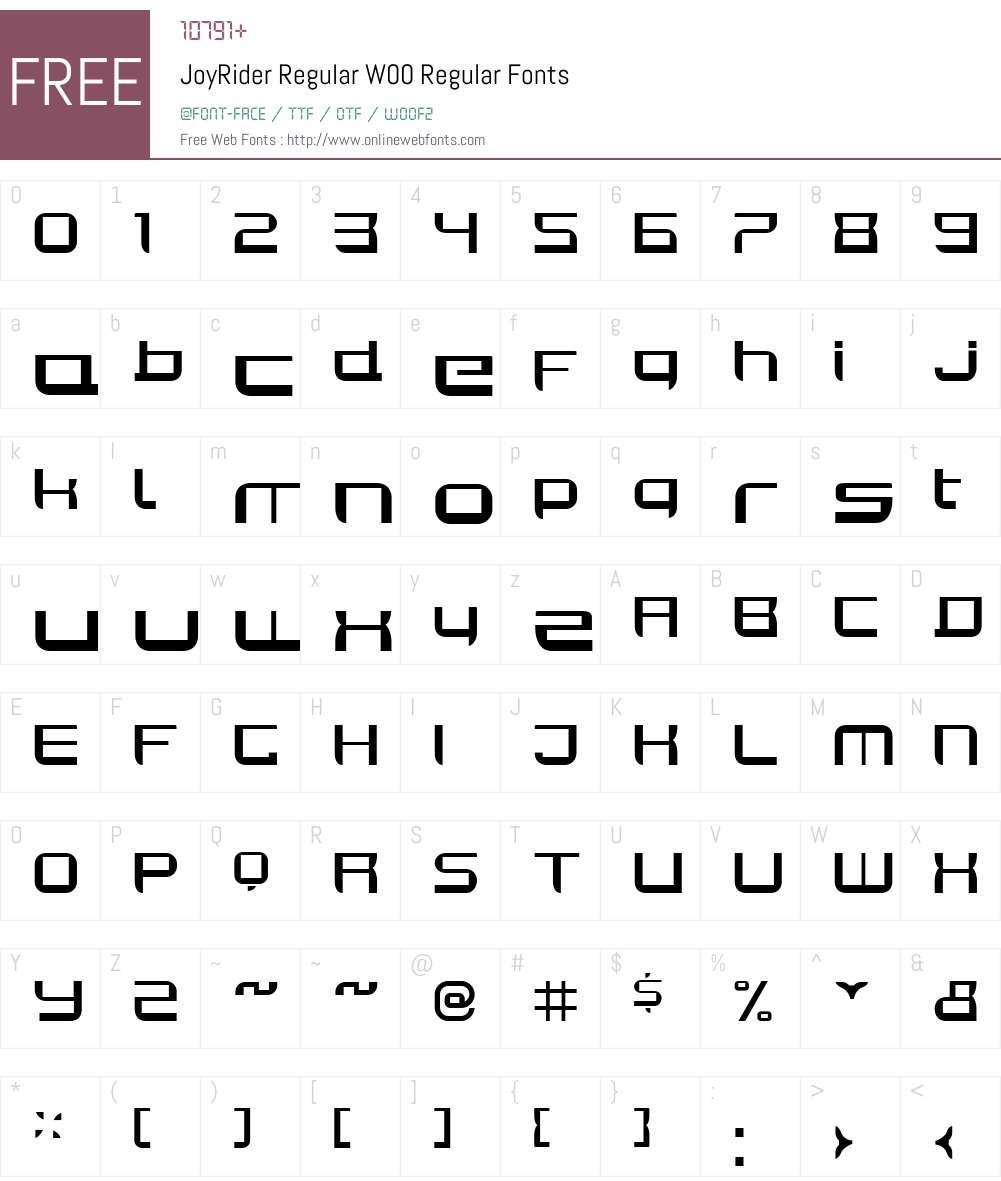 JoyRiderRegularW00-Regular Font Screenshots