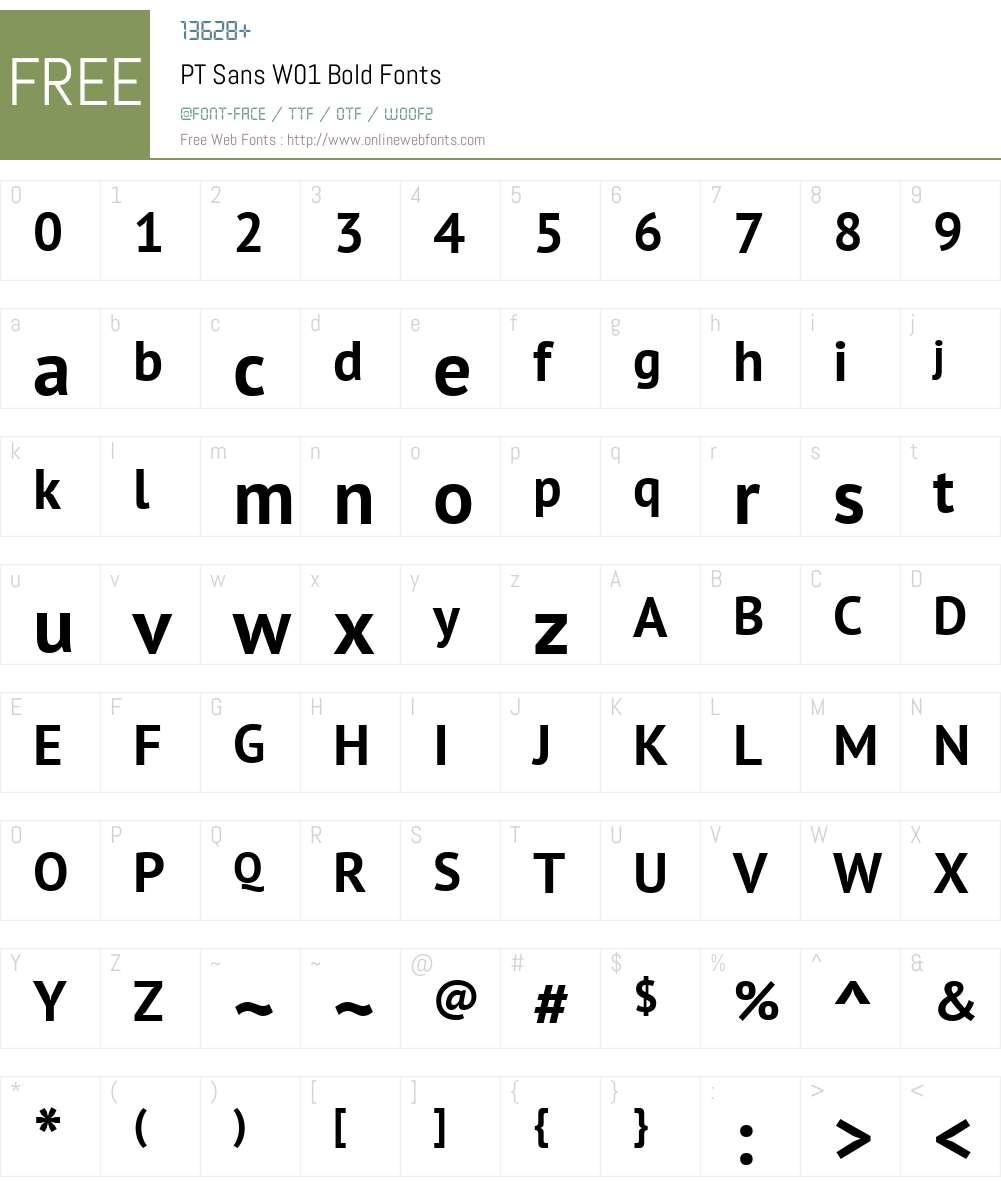 PTSansW01-Bold Font Screenshots