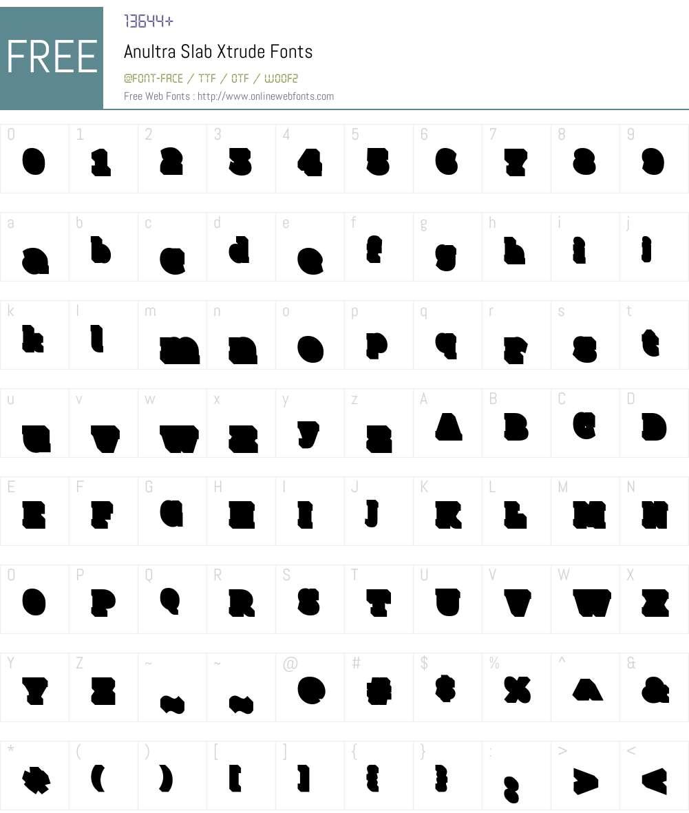 AnultraSlab-Xtrude Font Screenshots