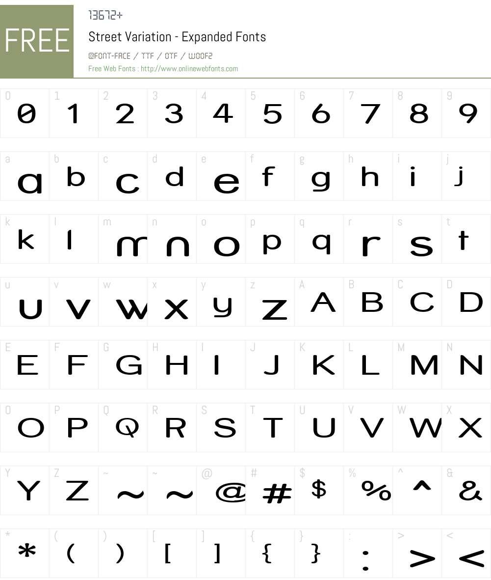 Street Variation - Expanded Font Screenshots