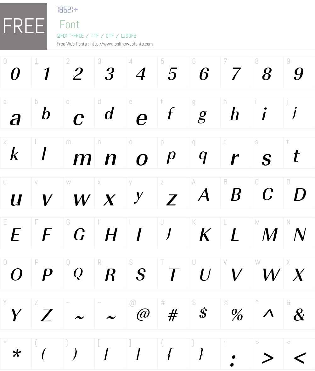 URWImperialW01-MdNarrowObl Font Screenshots