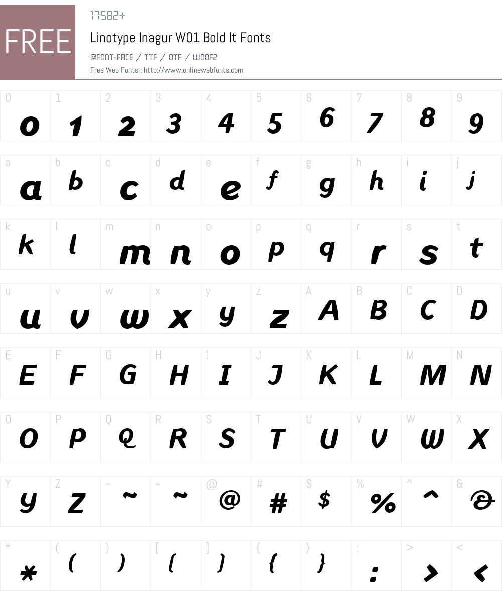 LinotypeInagurW01-BoldIt Font Screenshots