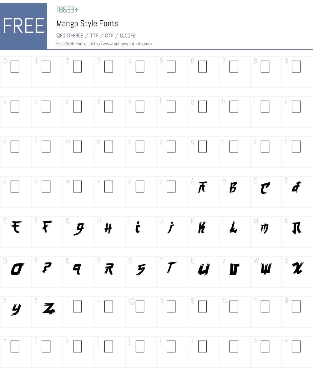 Manga Style Font Screenshots