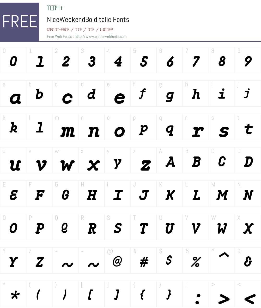 NiceWeekendW00-BdIt Font Screenshots