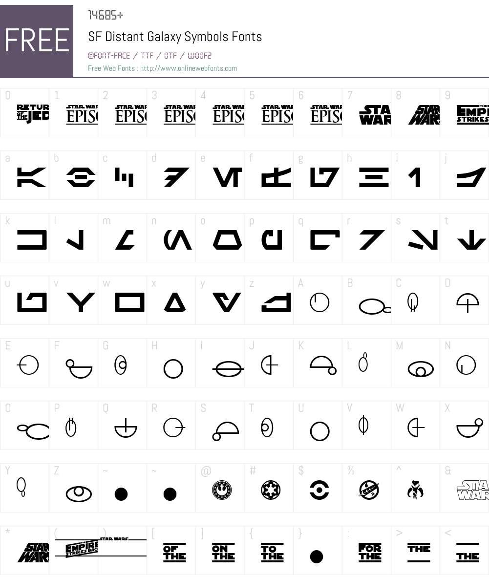 SF Distant Galaxy Symbols Font Screenshots