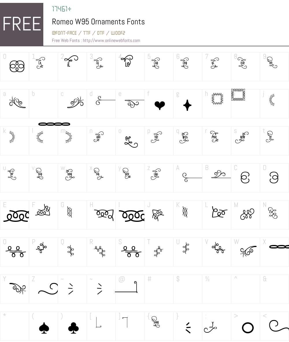 RomeoW95-Ornaments Font Screenshots