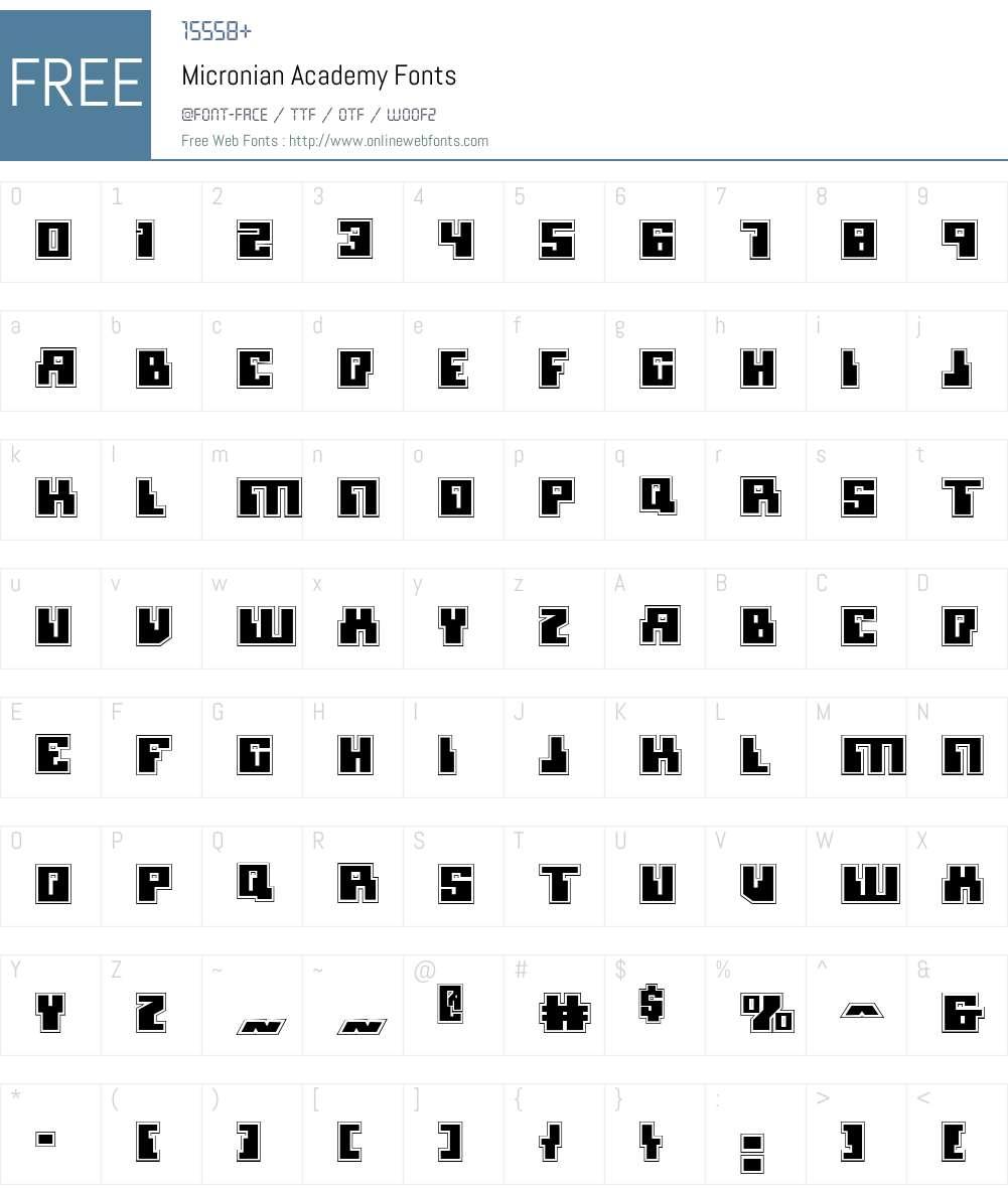 Micronian Academy Font Screenshots