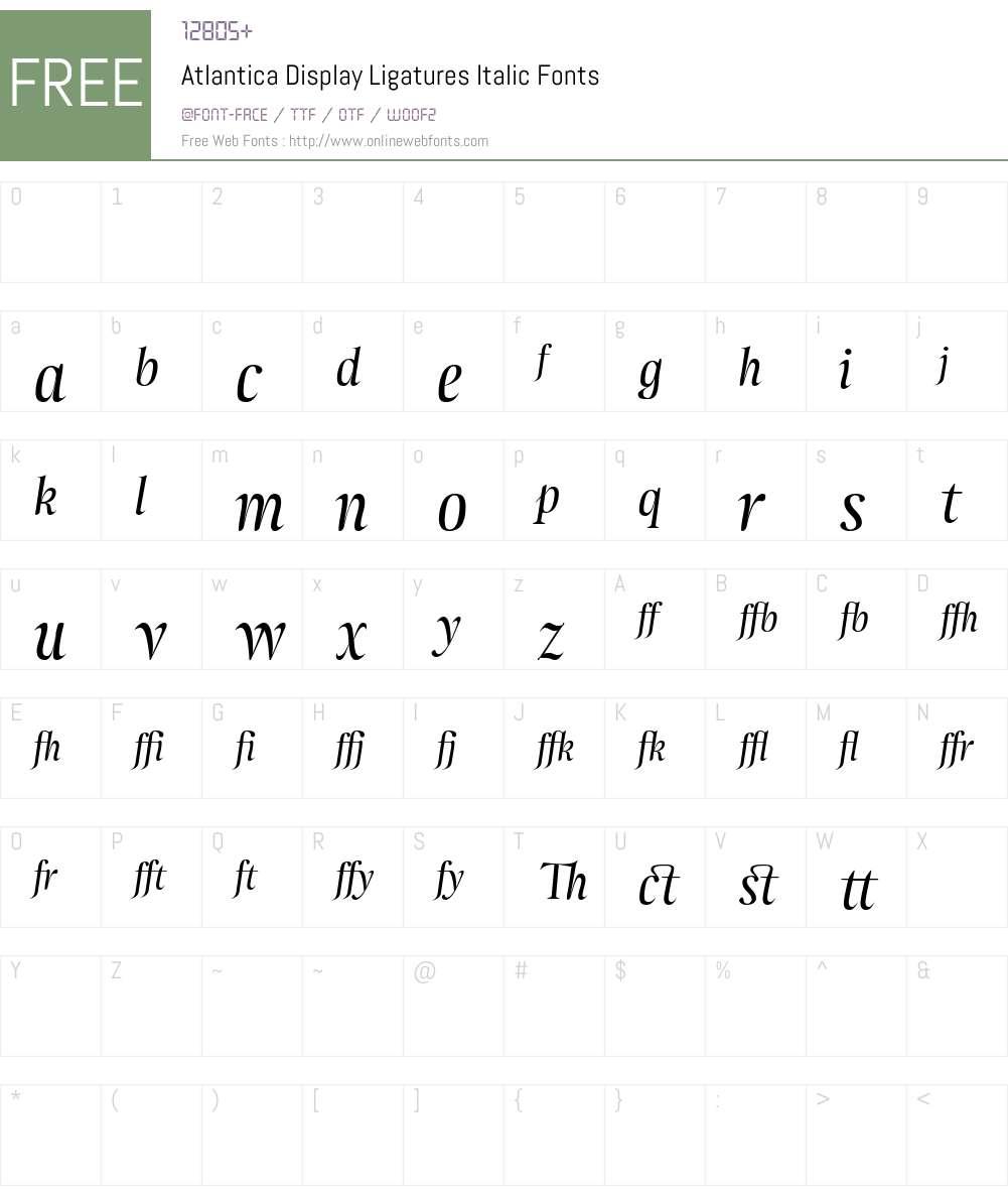 Atlantica Display Ligatures Font Screenshots