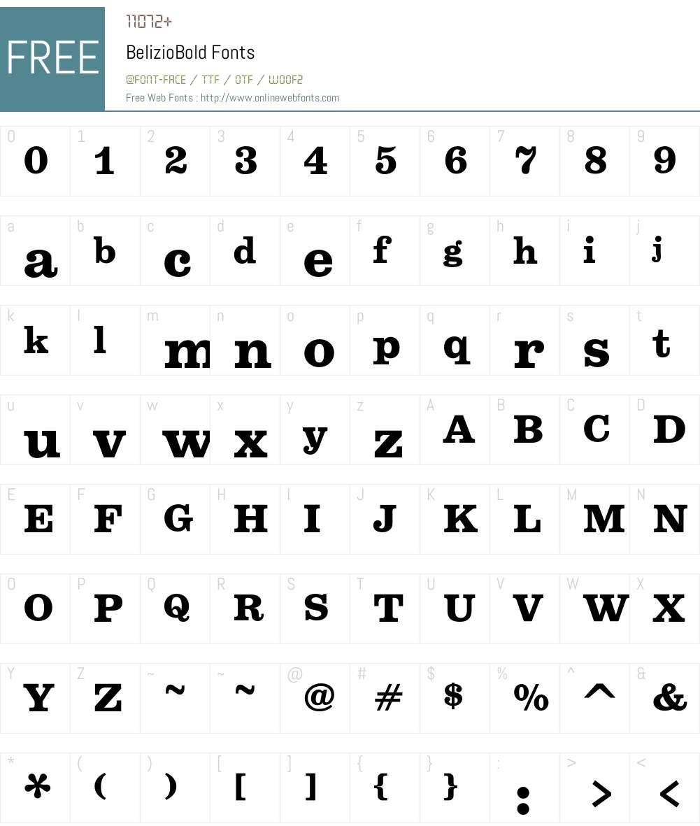 BelizioBold Font Screenshots