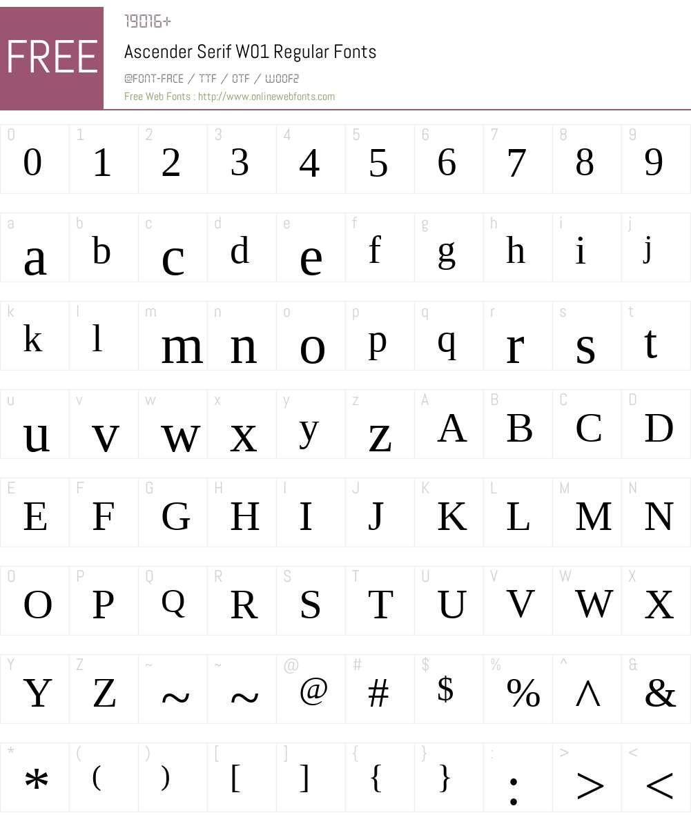 AscenderSerifW01-Regular Font Screenshots