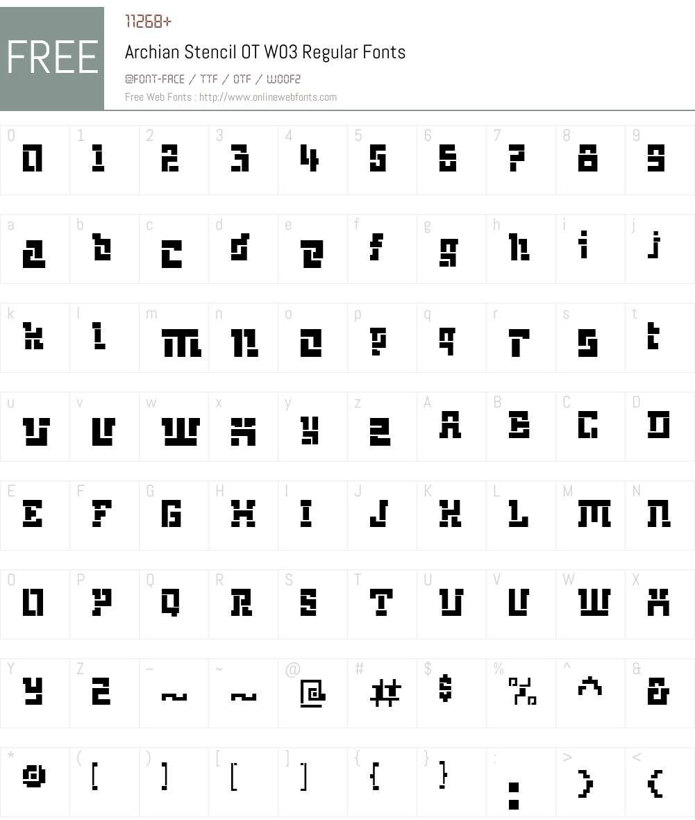 ArchianStencilOTW03-Regular Font Screenshots