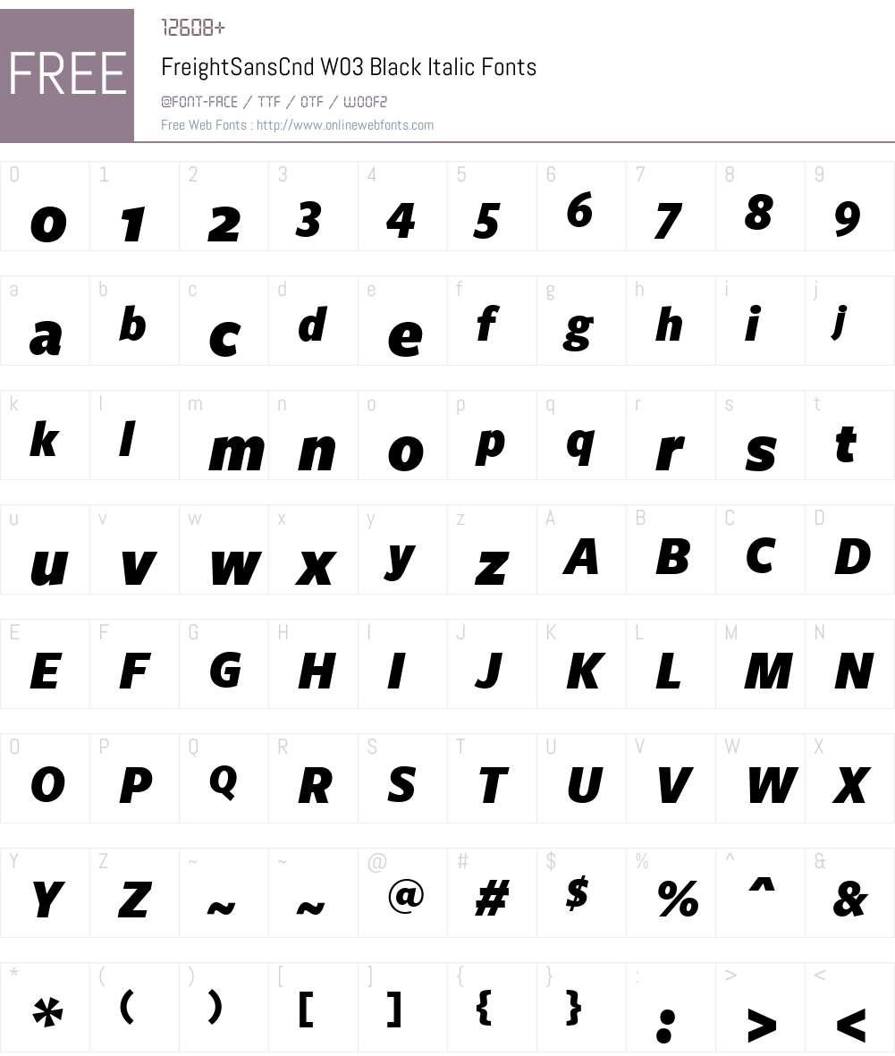 Freight Sans Condensed Font Screenshots