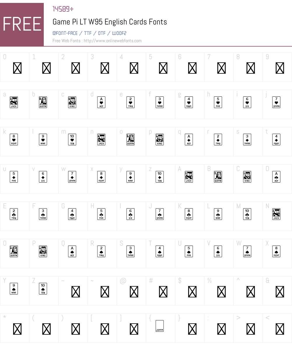 GamePiLTW95-EnglishCards Font Screenshots