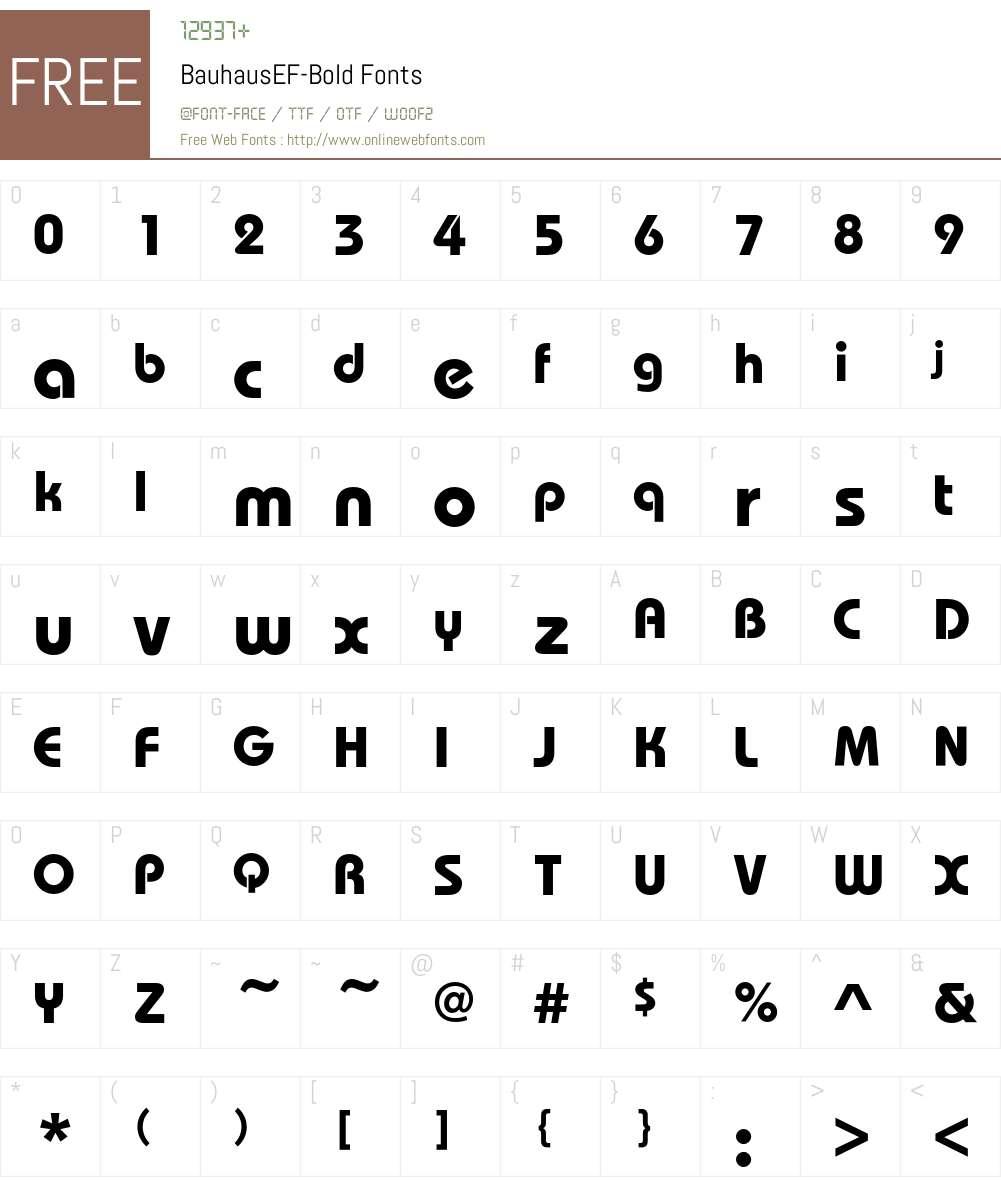 BauhausEF-Bold Font Screenshots