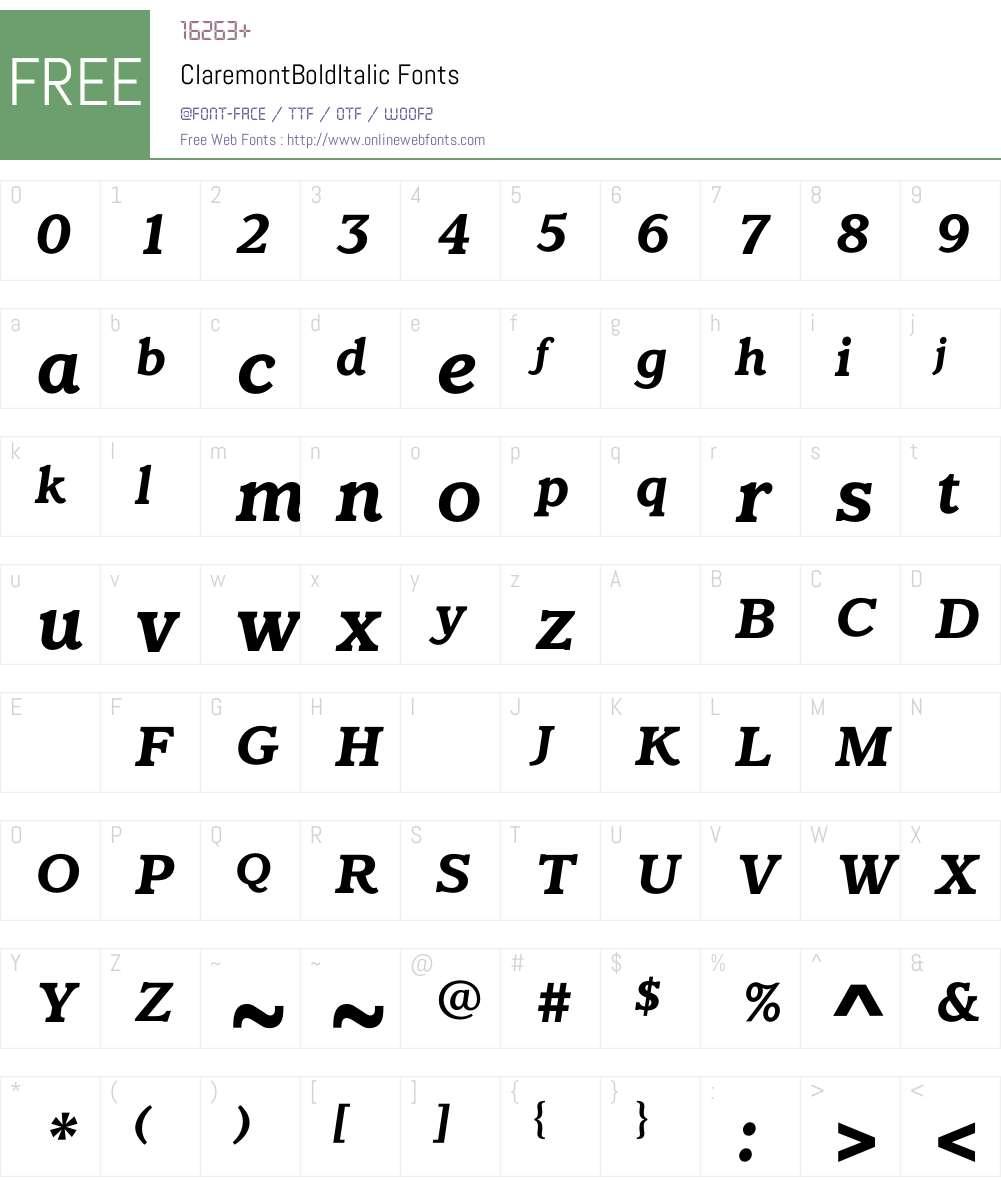 ClaremontBoldItalic Font Screenshots