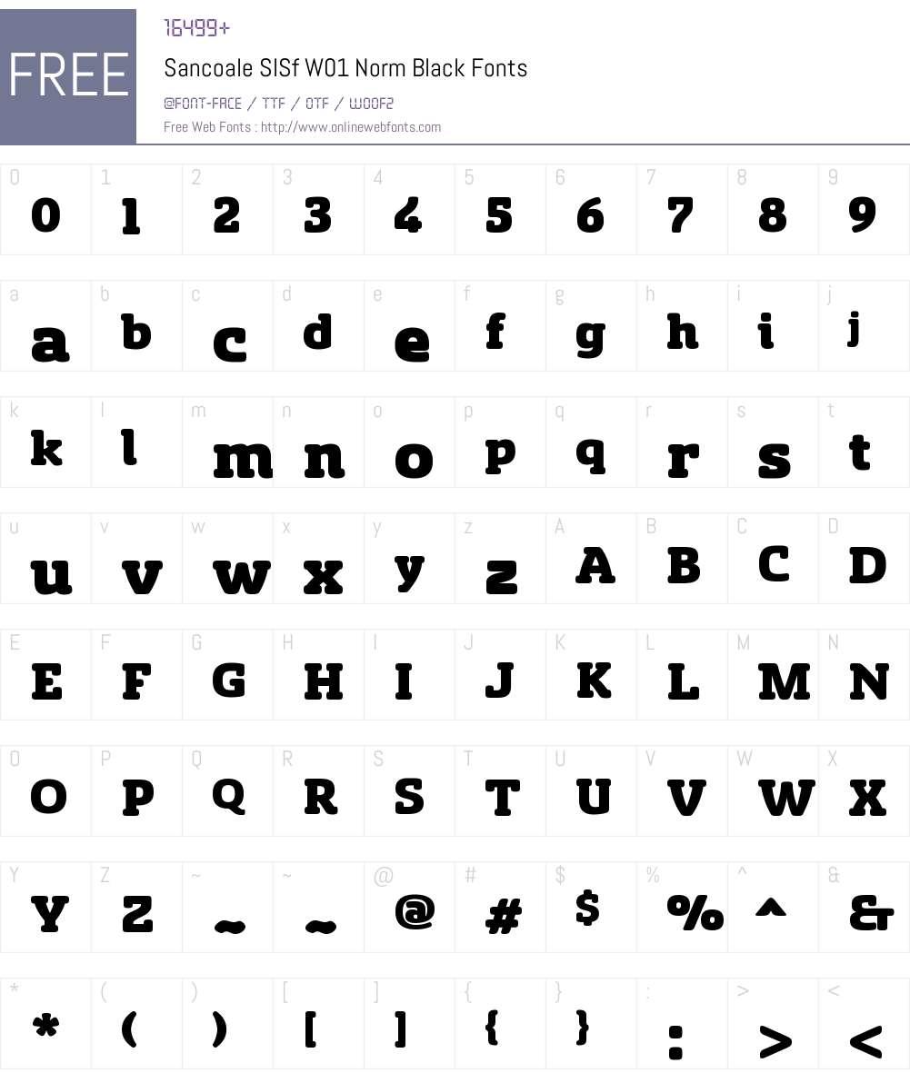 SancoaleSlSfW01-NormBlack Font Screenshots