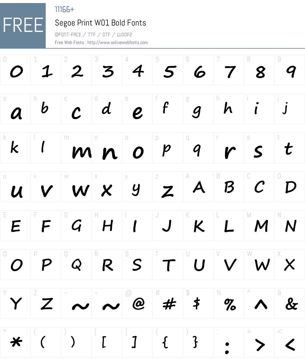 SegoePrintW01-Bold Font Screenshots