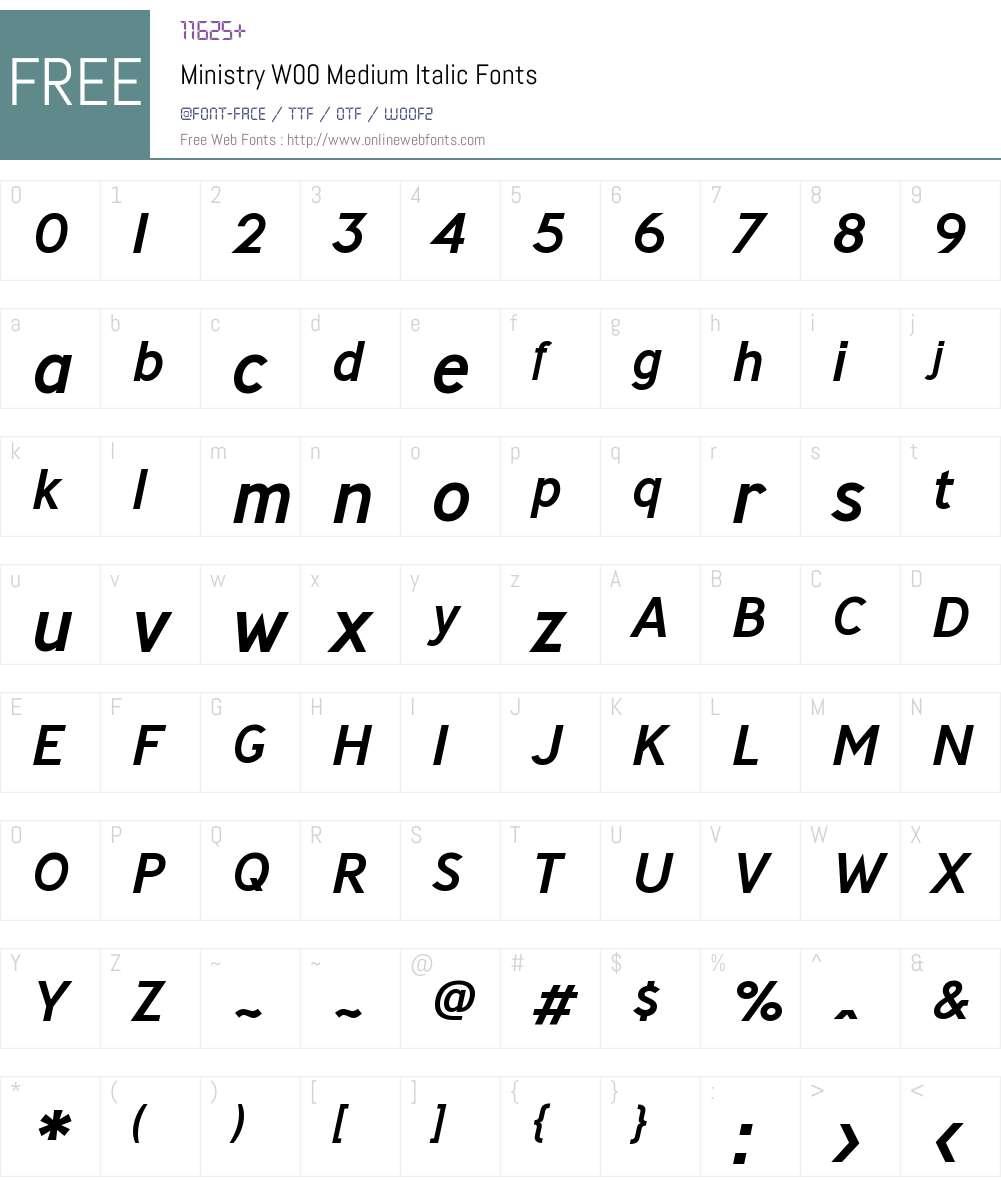 MinistryW00-MediumItalic Font Screenshots