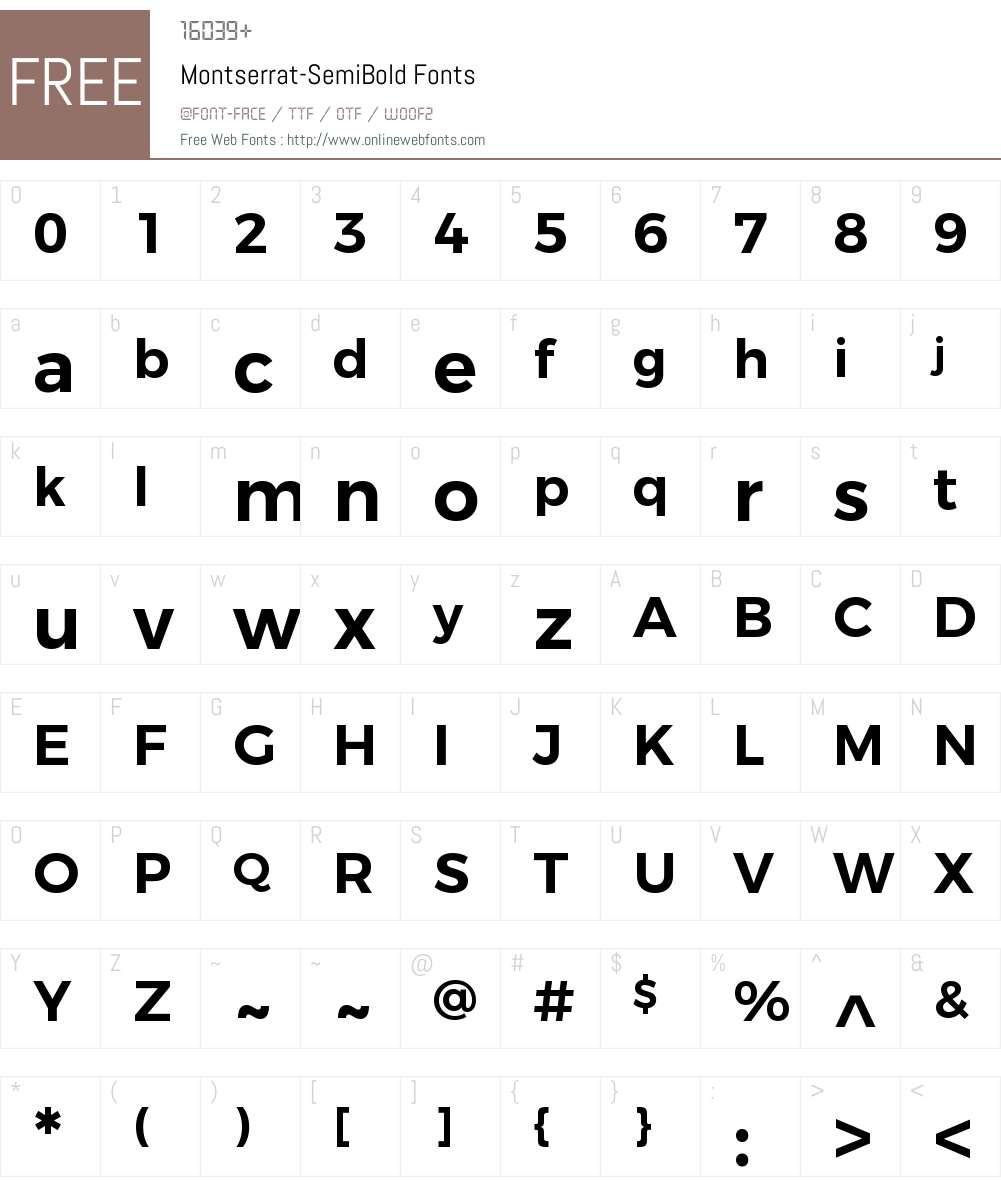 Montserrat SemiBold Font Screenshots