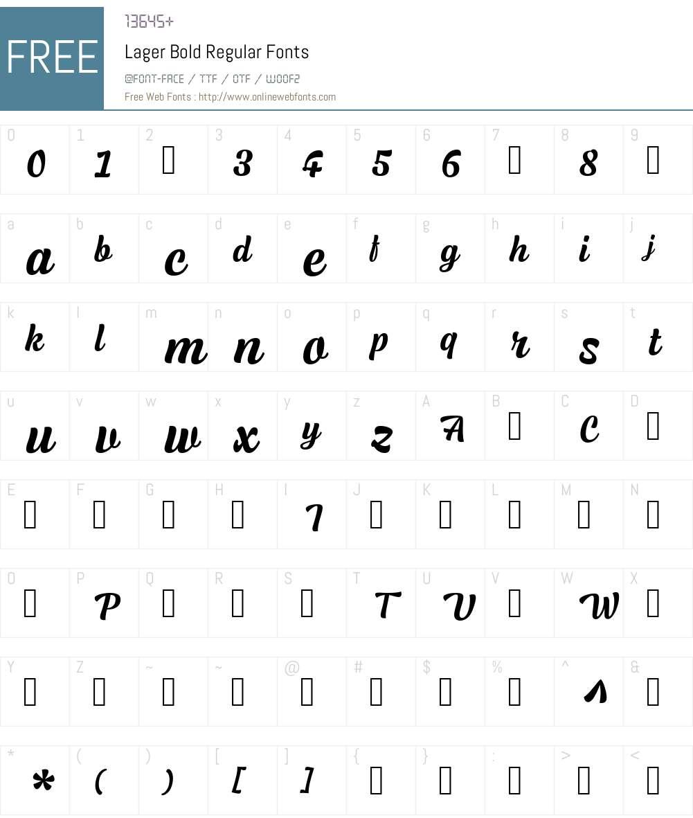 Lager-Bold Font Screenshots