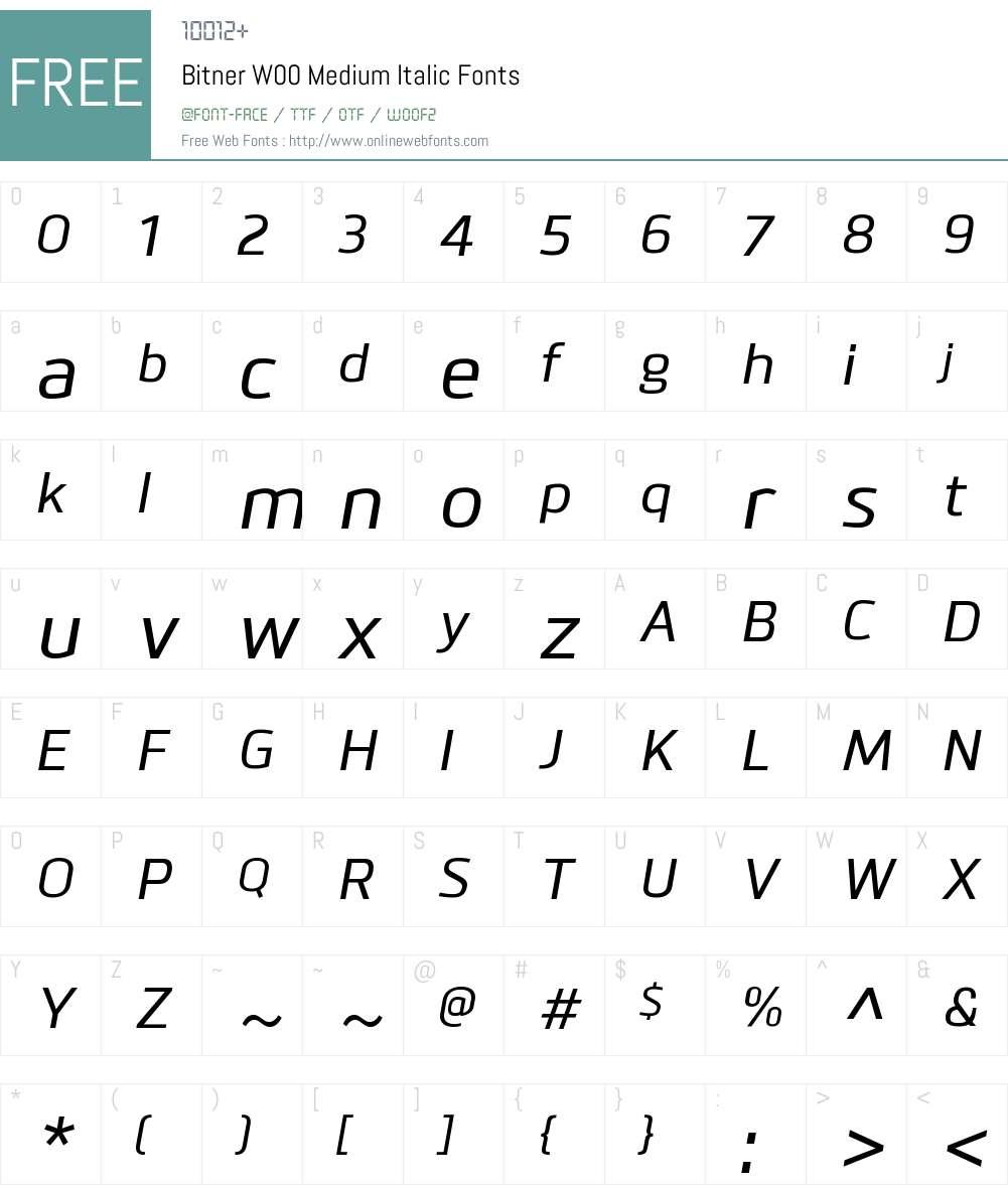 BitnerW00-MediumItalic Font Screenshots
