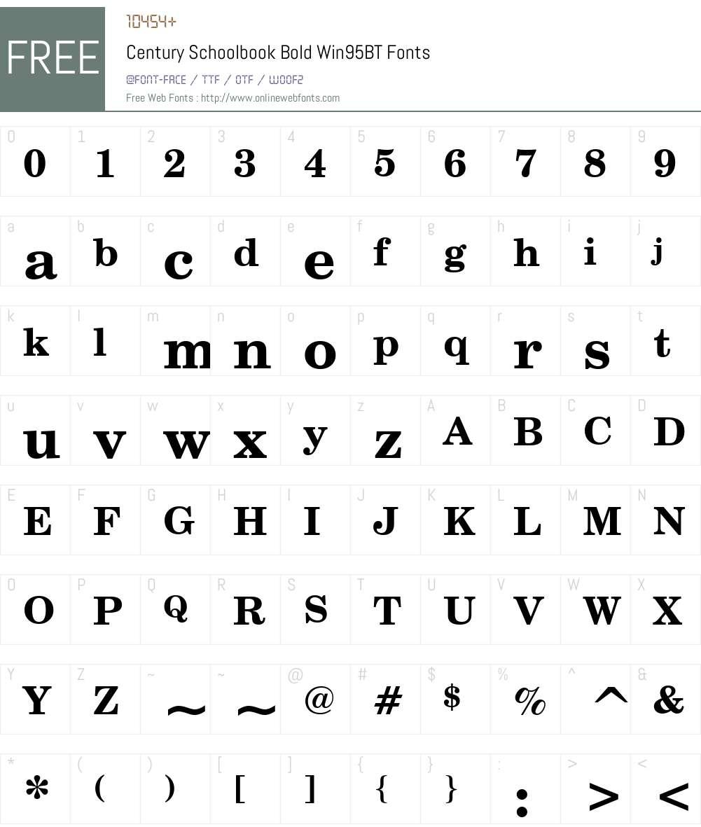 CentSchbook Win95BT Font Screenshots