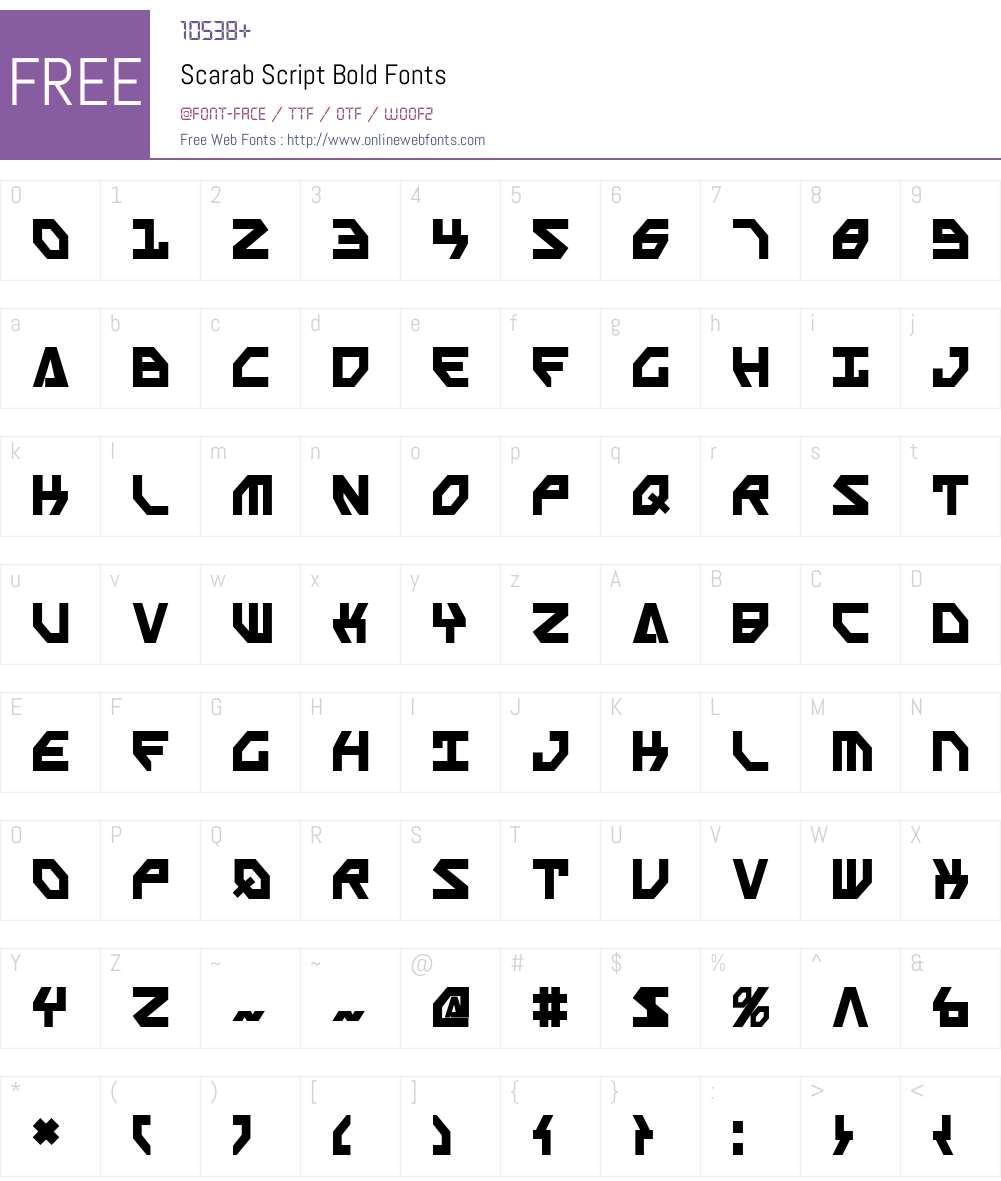 Scarab Script Bold Font Screenshots
