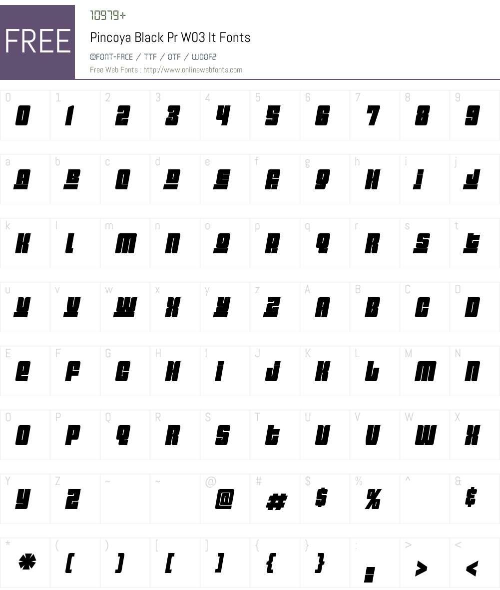 PincoyaBlackPrW03-It Font Screenshots