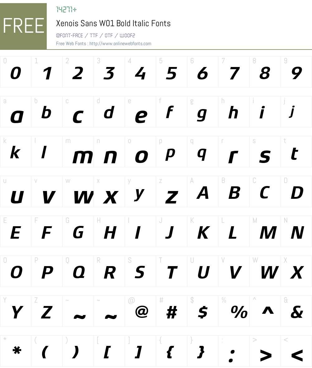 XenoisSansW01-BoldItalic Font Screenshots