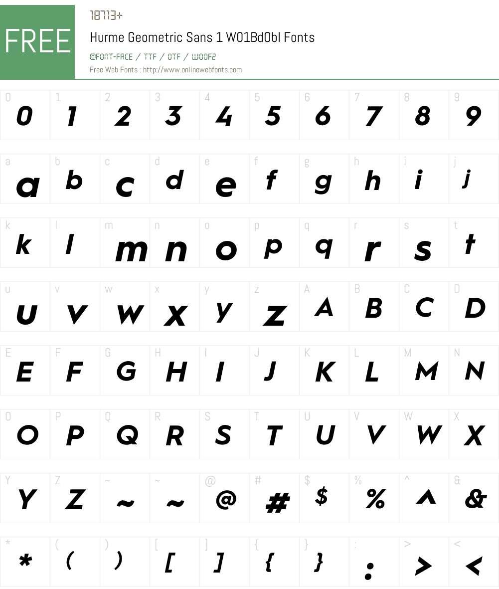 HurmeGeometricSans1W01-BdObl Font Screenshots