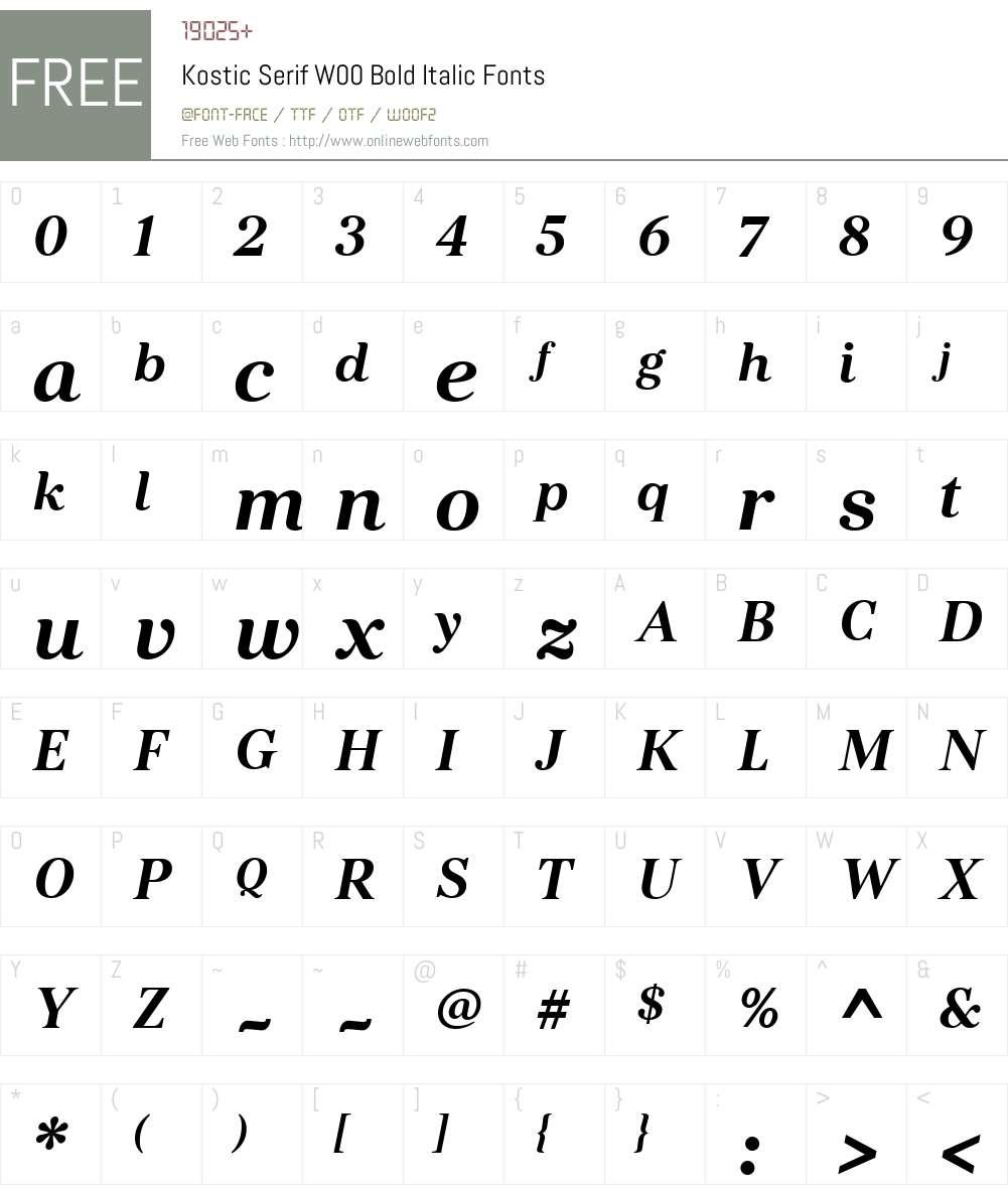 KosticSerifW00-BoldItalic Font Screenshots